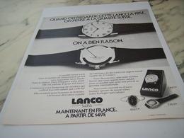 ANCIENNE PUBLICITE MAINTENANT EN FRANCE MONTRE LANCO 1975 - Joyas & Relojería