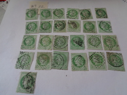 Lot N°22 De 25 Timbres Type Cérés Dentelé  III République ,n°53 , Oblitérés ,charniéres - 1871-1875 Cérès