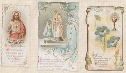 9AL1409 IMAGE PIEUSE RELIGIEUSE Lot De 3 COMMUNION VERS 1900  2 Scans - Devotion Images