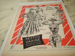 ANCIENNE PUBLICITE LIGNE JEUNE  KESTOS VAHINE  1956 - Habits & Linge D'époque