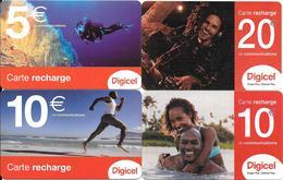4-CARTES-PREPAYEES-D.O.M-DIGITEL-Gratté-Plastic Fin-UTILISE-BE-RARE - France