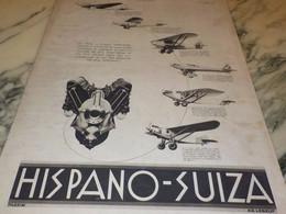 ANCIENNE  PUBLICITE POUR AVION MOTEUR HISPANO SUIZA 1932 - Advertisements