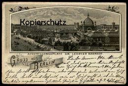 ALTE MONDSCHEIN LITHO POSTKARTE GRUSS AUS BERLIN AUSSTELLUNGSPLATZ AM LEHRTER BAHNHOF Tiergarten Moabit Ansichtskarte - Eisenbahnen