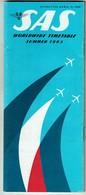SAS Scandinavian Airlines Worldwide Timetable - Summer 1965 - 52 Pages - Pub Volvo P1800 - 2 Scans - Monde