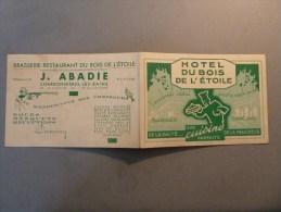 Charbonnières-les-Bains-69-Carte Publicitaire Note Hôtel Du Bois De L'Etoile J. Abadie - Charbonniere Les Bains