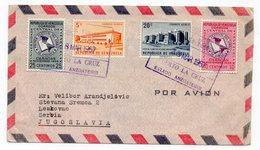 1957 VENEZUELA, PUERTO LA CRUZ TO LESKOVAC, SERBIA, YUGOSLAVIA, TRANZIT BARCELONA , ZAGREB, AIR MAIL - Venezuela