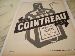 ANCIENNE PUBLICITE ANGERS FRANCE LIQUEUR COINTREAU 1957 - Alcools