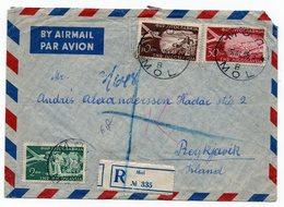 1955 YUGOSLAVIA, SERBIA, MOL TO REYKJAVIK, ICELAND, AIR MAIL, RECORDED - 1945-1992 Socialist Federal Republic Of Yugoslavia