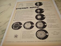 ANCIENNE PUBLICITE MONTRE ETERNA.MATIC 1957 - Joyas & Relojería
