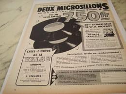 ANCIENNE PUBLICITE DEUX MICROSILLONS   1957 - Musik & Instrumente