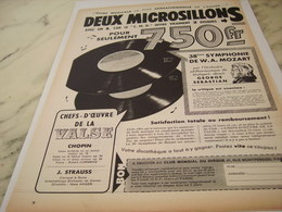 ANCIENNE PUBLICITE DEUX MICROSILLONS   1957 - Music & Instruments