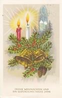 AK Frohe Weihnachten Und Glückliches Neues Jahr - Tanne Kerzen Glocken Tannenzapfen Kirchenfenster (41730) - Navidad