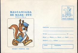 Ecureuil / Squirrel  Facteur Postal,Competition Des Facteurs XXI Edition   Entier Postal - Roumanie/Romania 1992 - Rongeurs