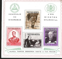 V) 1966, NICARAGUA, SIR WINSTON CHURCHILL, 1ST DEATH ANNIVERSARY, IMPERFORATED, STAMPS ON STAMPS, SOUVENIR SHEET - Nicaragua