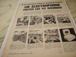 ANCIENNE PUBLICITETOUTES LES 42 SECONDES ELECTROPHONE  DE EDEN    1958 - Musik & Instrumente