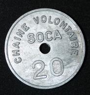 "Jeton De Nécessité ""Chaîne Volontaire SOCA 20 (francs)"" Strasbourg - Alsace - Emergency French Token - Monetary / Of Necessity"