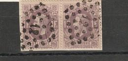 COB N° 36 En Paire Sur Fragment - L12 Anvers - 1869-1883 Léopold II