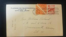 O) 1952 BOLIVIA, COLON LIGHTHOUSE SCT C167, L. A. B. PLANE, PADRES DE MARYKNOLL, TO USA - Bolivia