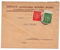 1931 YUGOSLAVIA, SLOVENIA, LJUBLJANA TO KRANJ, COMPANY'S HEAD COVER, - Covers & Documents