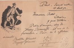 Paris 9 Quai Voltaire : Suite à Commande, Envoi Du Libraire PELLET Sur Facture Joliment Illustrée D'un Aiguilleur. (TTB) - France