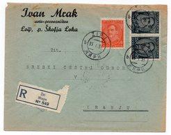 1933 KINGDOM OF YUGOSLAVIA, SLOVENIA, ZIRI TO KRANJ, REGISTERED MAIL, IVAN MRAK, TRANSPORT CO, LOG PRI SKOFIJA LOKA - Covers & Documents