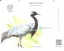 Kyrgyz Express Post 2018: Grue Demoiselle / Demoiselle Crane / Jungfernkranich (Grus Virgo) - Grues Et Gruiformes