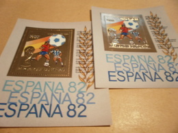 Perf And Imperf Miniature Sheets Central Africa Football World Cup 1982 Spain - Chad (1960-...)