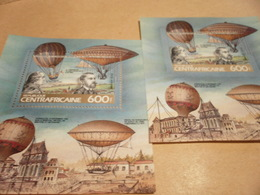 Perf And Imperf Miniature Sheets Central African Republic - 1983 - Hot-air Balloons - Airships - Central African Republic