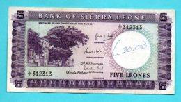 BANK OF SIERRA LEONE FIVE LEONES 163 - Sierra Leona