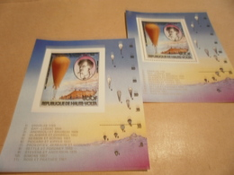 Perf And Imperf Miniature Sheets Haute Volta Hot Air Balloon Flight - Burkina Faso (1984-...)