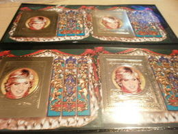 Perf And Imperf Miniature Sheets Lady Diana Birthday 4 X Gold Print - Guinea-Bissau