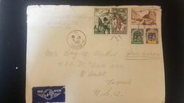 O) 1951 ALGERIA, ARMS OF ORAN, STORKS OVER MOSQUE -ARCHITECTURE, GRAPES, PLANE OVER VILLAGE, AIRMAIL TO USA - Algeria (1962-...)