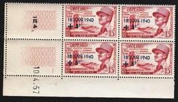 Année 1957-N°345 Neuf**MNH :  17°anniversaire De L'Appel Du Général De Gaulle - Bloc De 4 (CD) - Algeria (1924-1962)