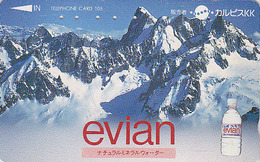 Télécarte Japon / 110-011 - Boisson - EAUMINERALE  EVIAN & Montagne FRANCE - Water DRINK Adv. Japan Phonecard - 33 - Advertising