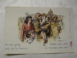 CPA COLLECTION WELCOME : Les Américains En France (Voulez-vous Venir En Amérique Avec Moi ?) - Etats-Unis