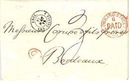 1875- Lettre De Londres ( Lombard Street ) Entrée ANGL. / AMB. CALAIS  A Noir  Pour Bordeaux - Storia Postale