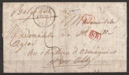 """L. Datée 9 Décembre 1837 Càd MELUN /9 DEC 1837 Pour Château D'Ormeignies à ATH - Boîte Rurale """"K"""" - Griffes [S.R.] Franç - 1830-1849 (Belgique Indépendante)"""