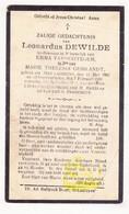 DP Leonardus Dewilde ° Sint-Laureins 1862 † 1930 X E. Van Hootegem Xx M.Th. Geirlandt // Van Ootegem Ooteghem - Images Religieuses