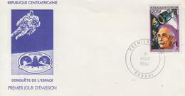Enveloppe  FDC  1er  Jour   REPUBLIQUE   CENTRAFRICAINE    Albert   EINSTEIN   Et   Satellite  Giotto   1984 - Albert Einstein