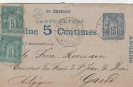 ENTIER SAGE 15C + COMPLEMENT 5CX2 CARTE LETTRE PUBLICITAIRE VENDUE 5 CENTIMES 36e EDITION PARIS 1889 P/LA BELGIQUE - Postal Stamped Stationery
