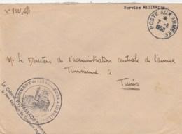 LETTRE FM POSTE AUX ARMEES - 7/8/50 - CACHET 7e REGIMENT DE TIRAILLEURS ALGERIENS COLONEL DU POUR DIRECTEUR L ACAT TUNIS - Marcophilie (Lettres)