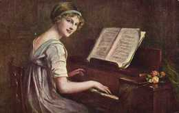 Fr Martin Kavel Allegretto Jeune Femme Au Piano RV - Peintures & Tableaux