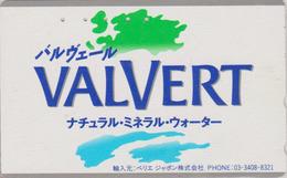 RARE TC Japon / 110-011 - Boisson - EAU MINERALE VALVERT NESTLE BELGIQUE - Water DRINK BELGIUM Rel Japan Phonecard - 48 - Food