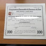 CERTIFICATO COMUNALE DI CONSUMO ESTE PADOVA DA LIRE 100 DEL 1945 - - Azioni & Titoli