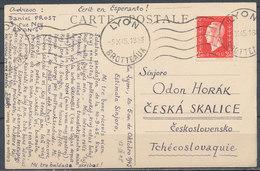 FRANCE - 1945, Carte Post LYON BROTTEAUX  To ČESKA SKALICE  (Tchecoslovaquie) - Postmark Collection (Covers)