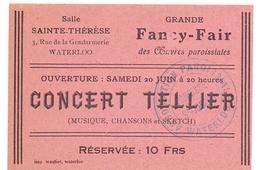 Ticket D' Entrée Ingangsticket Toegangskaart - Concert Tellier - Salle Sainte Thérèse Waterloo - Tickets - Entradas