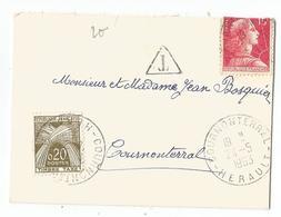 MULLER 15FR REPLIE MIGNONNETTE SMALL COVER COURNON HERAULT 24.5.1963 + TAXE 20FR - 1955- Marianne De Muller