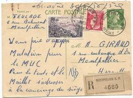 MULLER 15FR +20FR MARTINIQUE SUR ENTIER 12FR MULLER CP RECOMMANDE MONTPELLIER 30.5.1956 - 1955- Marianne De Muller