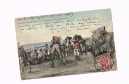 Souvenir De Smyrne.Campement Des Chameaux.Expédié De Constantinople à Barcelone (Espagne).Timbre Levant Italien. - Turchia