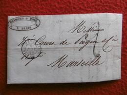 LETTRE REYMOND & POYE DROGUERIES CACHET PARIS TAXE 2 VIA MARSEILLE 1850 - 1849-1876: Classic Period